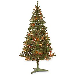 National Tree 6-Foot Canadian Grande Fir Pre-Lit Christmas Tree with Multicolor Lights