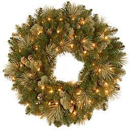 National Tree Company Carolina Pine Pre-Lit Artificial Wreath with Clear Lights