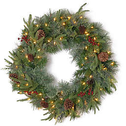 National Tree Company 30-Inch Colonial Wreath with Clear Lights