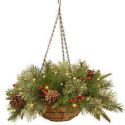 National Tree Company Colonial Pre-Lit Hanging Pine Basket