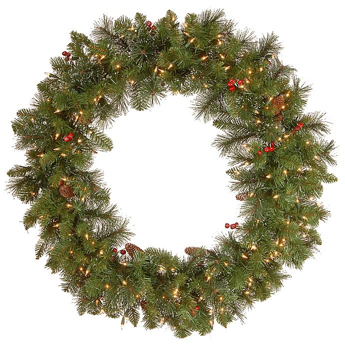 Alternate image 1 for National Tree Company 36-Inch Crestwood Spruce Pre-Lit Wreath with Clear Lights