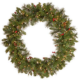 National Tree Company 36-Inch Crestwood Spruce Pre-Lit Wreath with Clear Lights