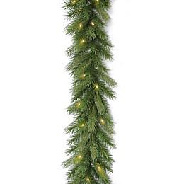National Tree 9-Foot Deerfield Fir Pre-Lit Garland with Clear Lights