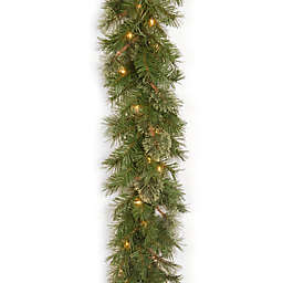 National Tree 9-Foot Atlanta Spruce Pre-Lit Garland with Clear Dura-Lit Lights