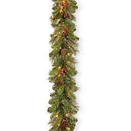 National Tree Cashmere Berry 9-Foot Garland with Clear Lights