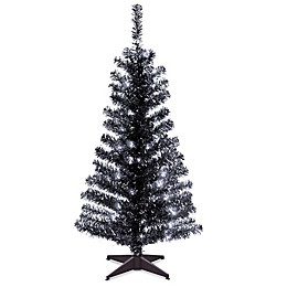 Natural Tree 4-Foot Tinsel Christmas Tree in Black with Clear Lights