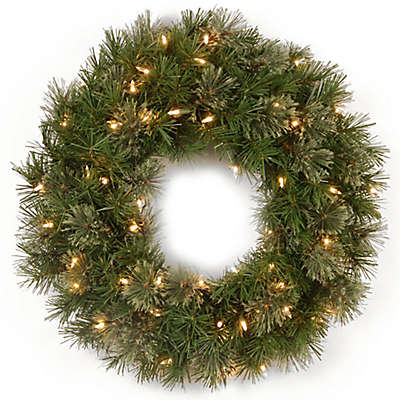 National Tree 24-Inch Atlanta Spruce Pre-Lit Christmas Wreath with Clear Lights