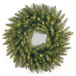 National Tree Dunhill Fir Pre-Lit Christmas Wreath with Clear Lights