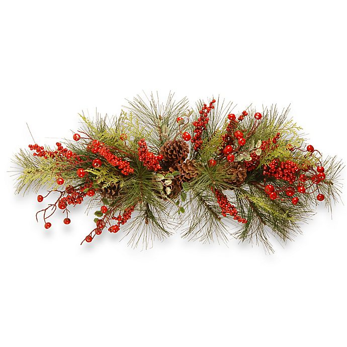 National Tree Berry Branch Christmas Centerpiece In Red