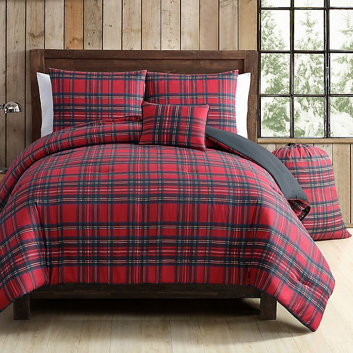 Vcny Tartan Plaid Comforter Set In Red Green Bed Bath