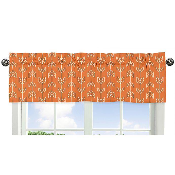 Alternate image 1 for Sweet Jojo Designs Arrow Window Valance in Orange/White