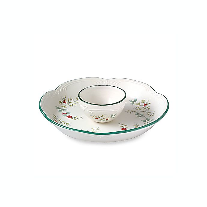 Alternate image 1 for Pfaltzgraff Winterberry 14-Inch Chip and Dip Server