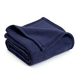 Vellux Plush Full/Queen Blanket in Navy