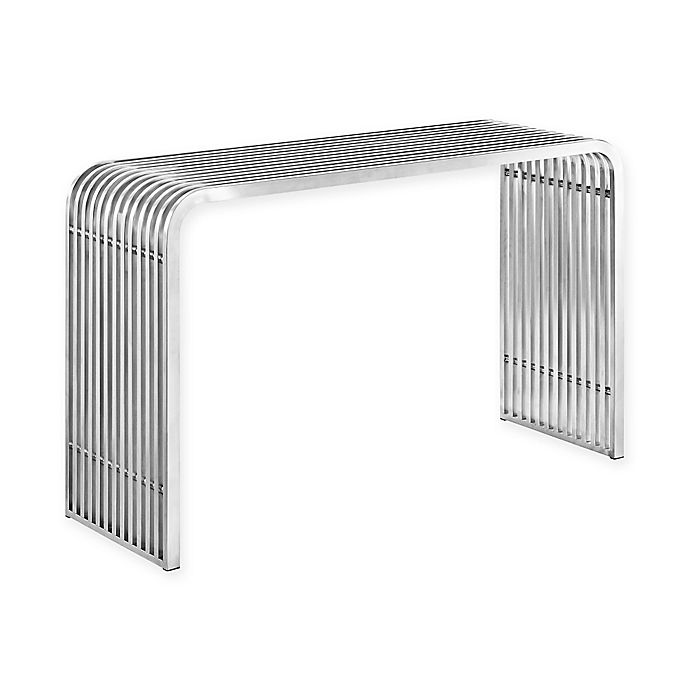 Pleasant Modway Pipe Console Table In Silver Bed Bath Beyond Machost Co Dining Chair Design Ideas Machostcouk