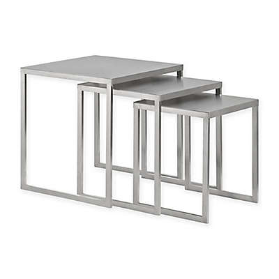 Modway Rail Nesting Table in Silver