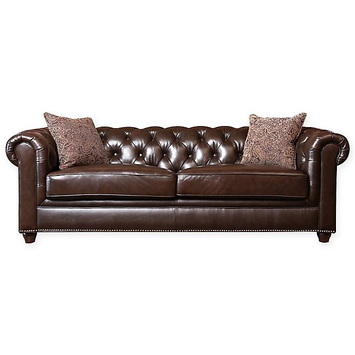 Abbyson Living® Berkeley Leather Sofa in Brown | Bed Bath & Beyond
