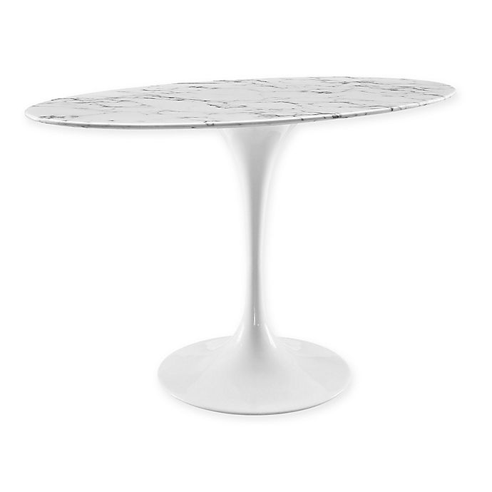 Alternate image 1 for Modway Oval Marble Dining Table