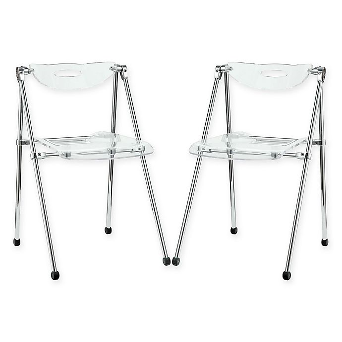 Awesome Modway Telescope Folding Chairs In Clear Set Of 2 Machost Co Dining Chair Design Ideas Machostcouk