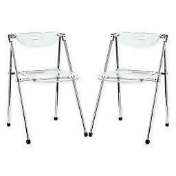 Modway Telescope Folding Chairs in Clear (Set of 2)