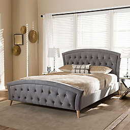 Hannah Platform Queen Size Bed in Grey