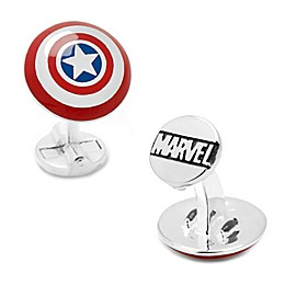 Marvel® 3D Captain America Shield Silver-Plated Cufflinks