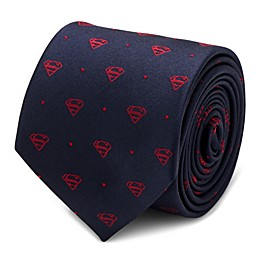 Dc Comics Silk Superman Shields and Dots Tie in Navy/Red