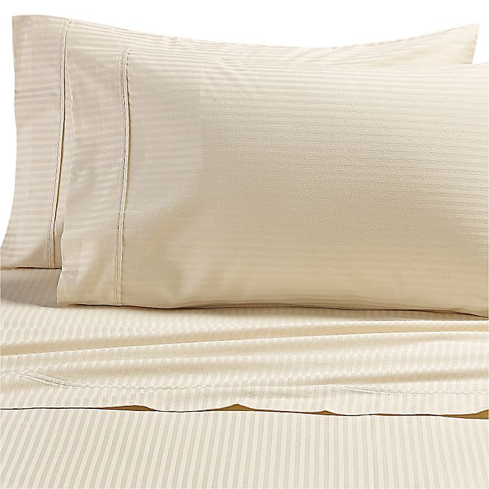 Alternate image 1 for All Natural Cotton 500-Thread-Count Stripe Full Sheet Set in Natural