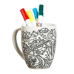Floral Accented Coloring Mug