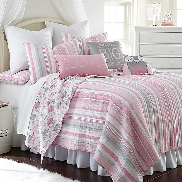 Alternate image 1 for Levtex Home Gillian Owl Reversible Quilt Set in Pink/Grey