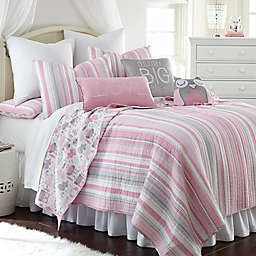 Levtex Home Gillian Owl Reversible Quilt Set in Pink/Grey