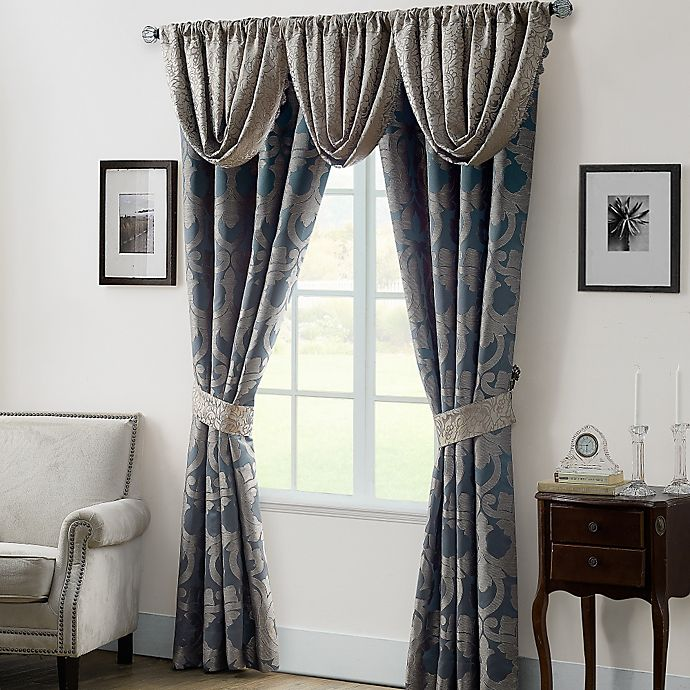 Alternate image 1 for Waterford® Linens Chateau Lake 84-Inch Window Curtain Panel Pair in Slate