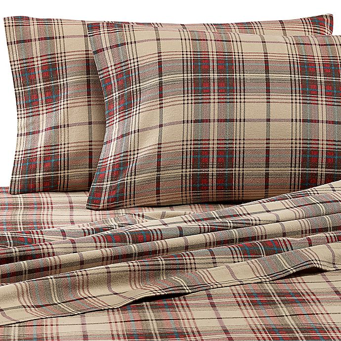 Alternate image 1 for Eddie Bauer® Montlake Plaid Flannel Sheet Set in Red