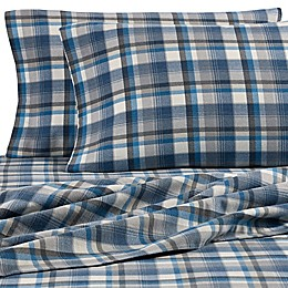 Eddie Bauer® Spencer Plaid Flannel Sheet Set in Blue