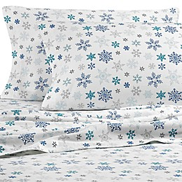 Eddie Bauer Tossed Snowflake Flannel Sheet Set