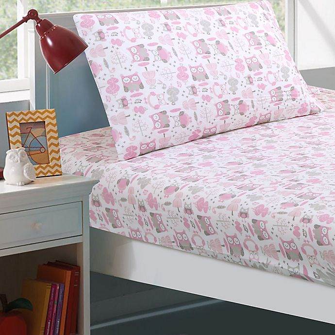Alternate image 1 for Levtex Home Gillian Owl Sheet Set in Pink/Grey