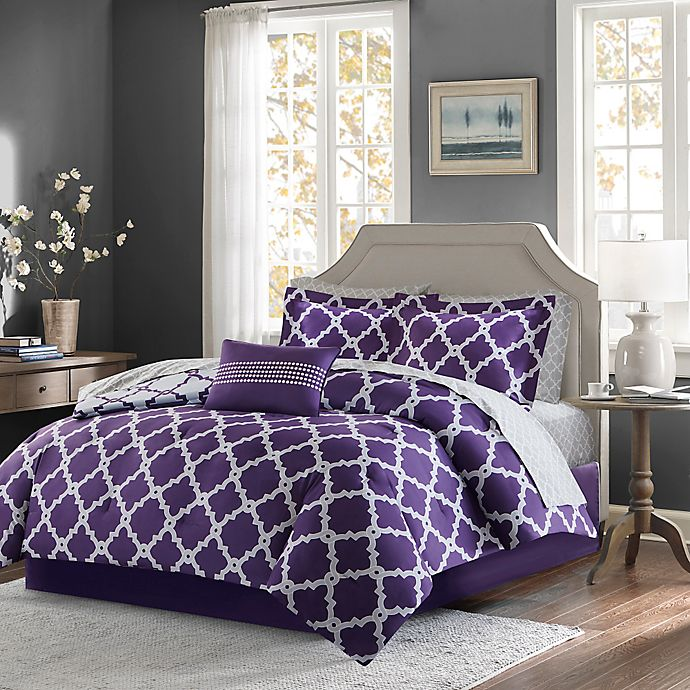 Alternate image 1 for Madison Park Essentials Merritt 9-Piece Reversible Full Comforter Set in Purple/Grey