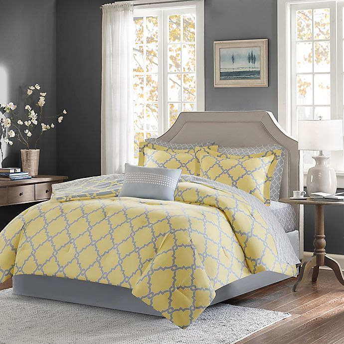 Alternate image 1 for Madison Park Essentials Merritt 9-Piece Reversible Full Comforter Set in Yellow/Grey