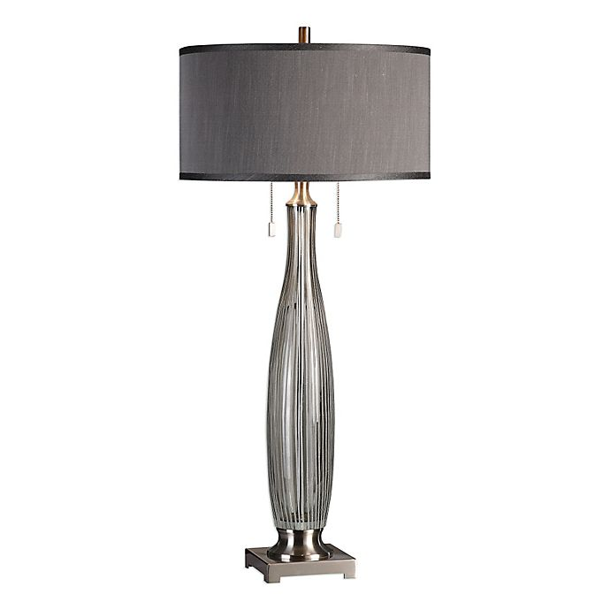 Uttermost Coloma Smoke Grey Glass Table Lamp In Brushed Nickel With