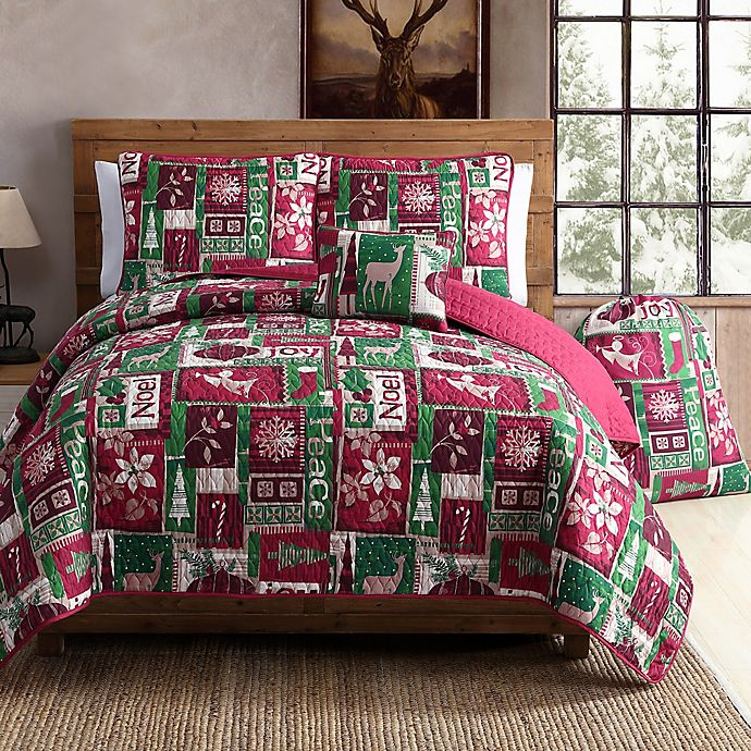 Vcny Holiday Patch Quilt Set In Red Green Bed Bath Amp Beyond
