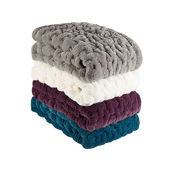 Alternate image 1 for Madison Park Ruched Faux Fur Throw Blanket
