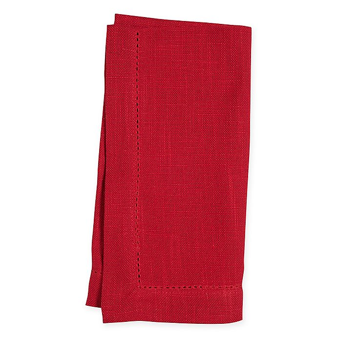 Alternate image 1 for Rustic Hemstitch Napkin in Red (Set of 4)