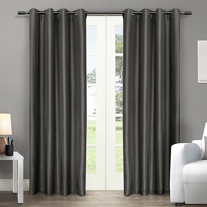 Alternate image 1 for Chatra 108-Inch Grommet Top Window Curtain Panel Pair in Black Pearl