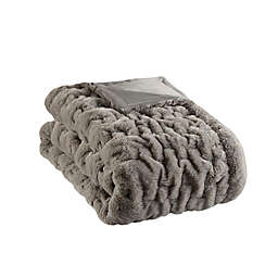 Madison Park Ruched Faux Fur Throw Blanket in Grey
