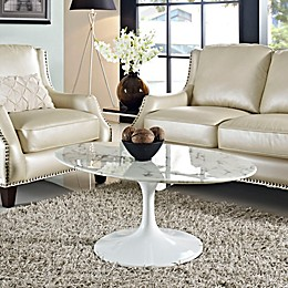 Modway Marble 42-Inch Oval Coffee Table in White