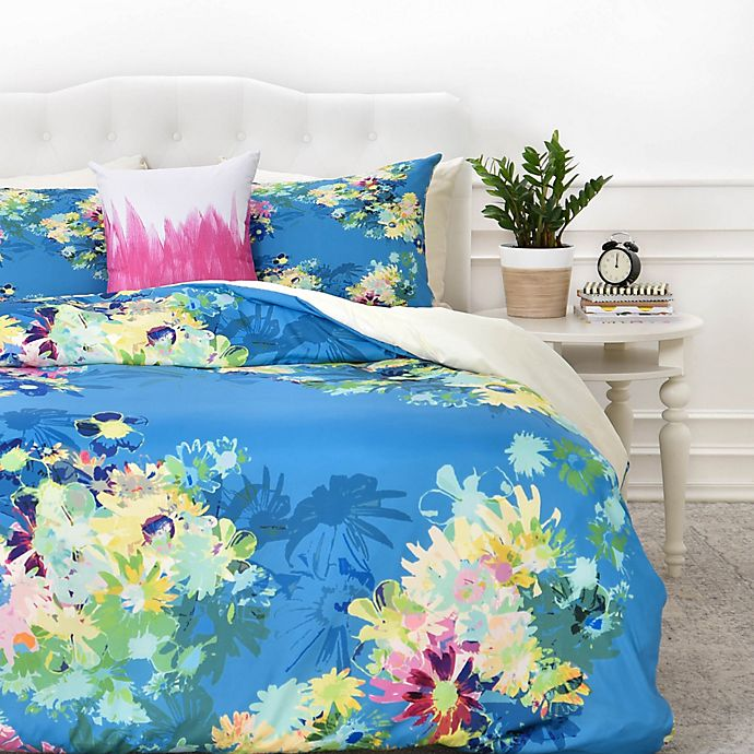 Alternate image 1 for Deny  Designs Bel Lefosse Design Jardim Duvet Cover in Teal
