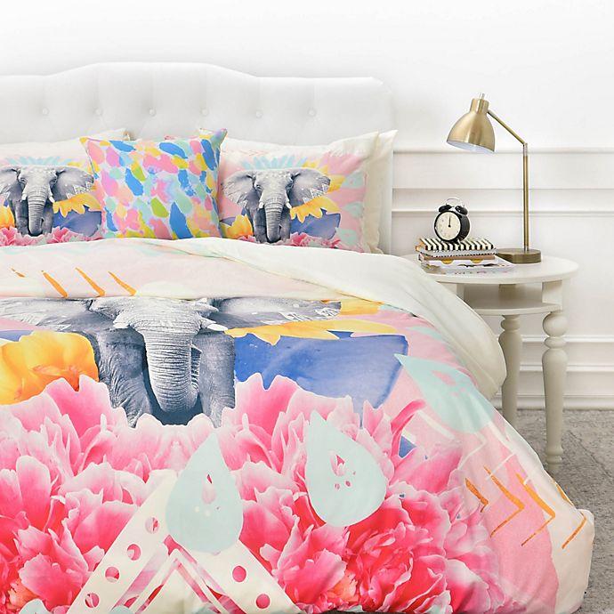 Alternate image 1 for Deny  Designs Kangarui Elephant Festival Duvet Cover in Pink