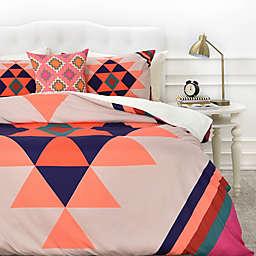 Deny  Designs Wesley Bird Desert Duvet Cover in Orange