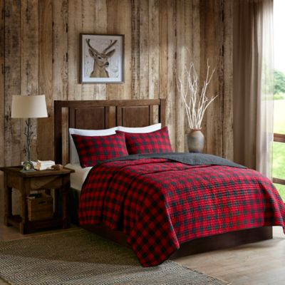 Woolrich 174 Check Reversible Quilt Set In Red Black Bed