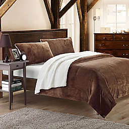 Chic Home Evelyn Twin XL 2-Piece Sherpa-Lined Blanket Set in Brown