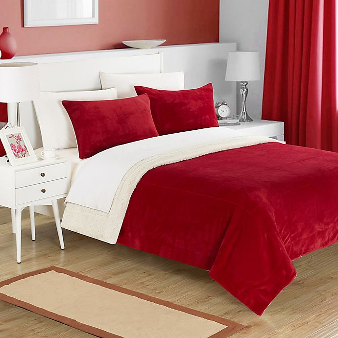 Alternate image 1 for Chic Home Evelyn King 3-Piece Sherpa-Lined Blanket Set in Burgundy